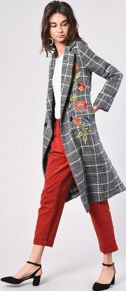 Check Embroidered Overcoat