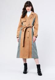 Mixed Checked Trench Coat