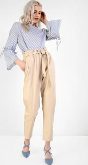 Pu Belted Trousers