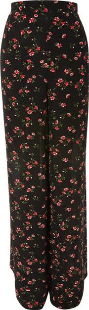Womens Wide Leg Floral Printed Trousers By