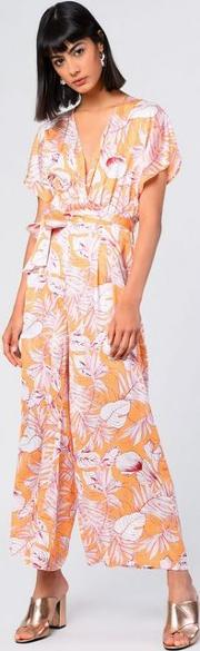 Tropical Printed Belted Jumpsuit