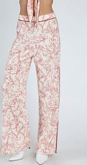White Red Western Pants