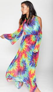 Womens Rainbow Tie Dye Maxi Beach Dress By