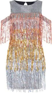Womens Sequin Fringed Cold Shoulder Dress By Jaded London