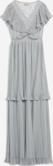 Pleated Tulle And Lace Maxi Dress