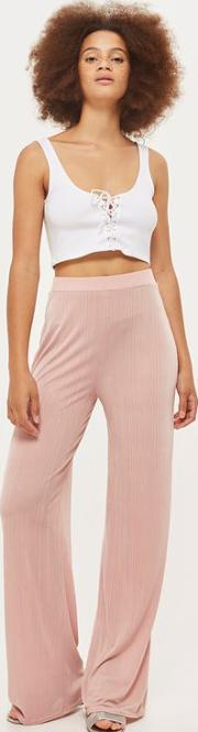 Ribbed Wide Leg Trousers By Love