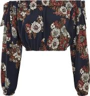 Womens Printed Bardot Tie Sleeve Top By Love
