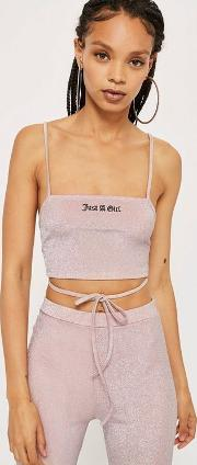 'just A Girl' Embroidered Bralet