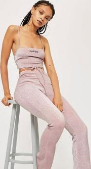 Pink Sparkle Flare Trousers