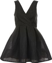 Womens Cross Over Structured Skater Dress By Oh My Love