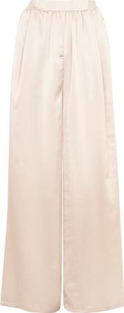 Womens High Waist Satin Wde Leg Trousers By Oh My Love
