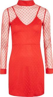 Womens Mesh High Neck Dress By Oh My Love