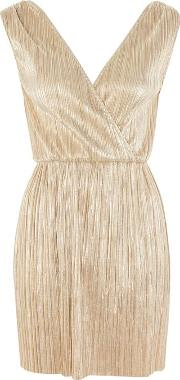 Womens Metallic Pleated Wrap Front Dress By Oh My Love