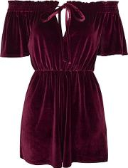 Womens Velvet Off The Shoulder Playsuit By Oh My Love