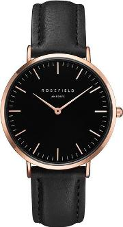 The Bowery Black And Rose Gold Watch