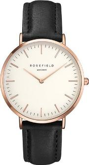 The Bowery White And Black Rose Gold Watch