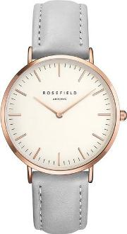 The Bowery White And Grey Rose Gold Watch