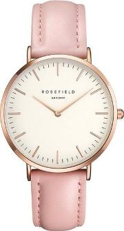 The Bowery White And Pink Rose Gold Watch