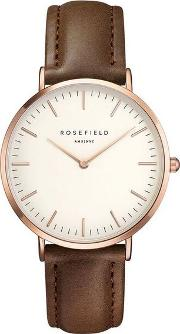 The Bowery White Brown Rose Gold Watch