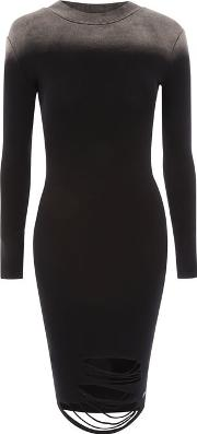 Womens Distressed Ombre Bodycon Dress By Sixth June