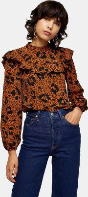 Animal Yoke Frill Blouse