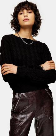 Black Mini Cable Knitted Crop Jumper