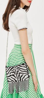 Bonnie Zebra Beaded Cross Body Bag