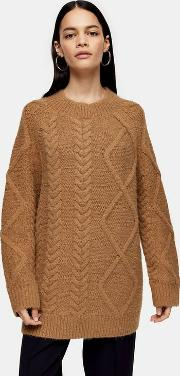Camel Cable Knitted Jumper