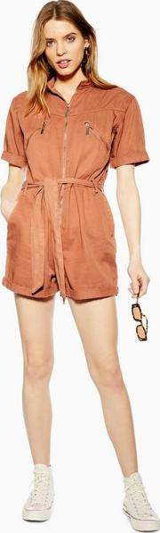 Coral Utility Belted Playsuit