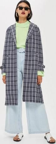 Crinkle Check Duster Coat