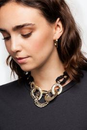 Crocodile Link And Rope Collar Necklace