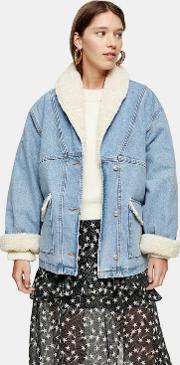 Denim Oversized Borg Lined Car Coat
