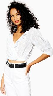 Embroidered Ruffle Wrap Blouse