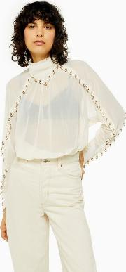 Eyelet Long Sleeve Blouse