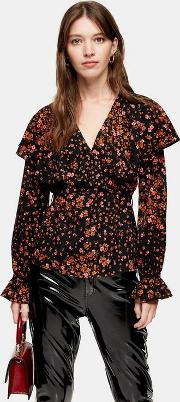 Fallen Floral Bloom Angel Sleeve Blouse