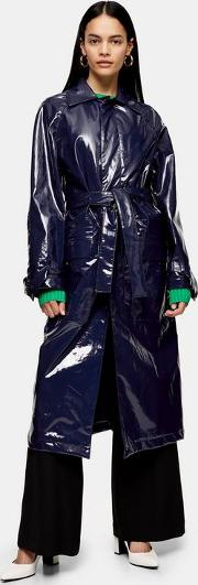 Faux Leather Vinyl Trench