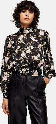 Floral Split Tie Back Blouse