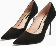 Georgia Black Pointed Court Shoes