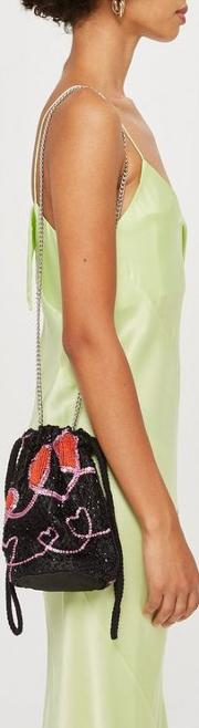 Heart Beaded Drawstring Cross Body Bag