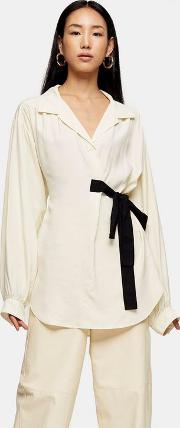 Ivory Wrap Blouse