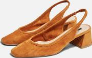 Jelly Leather Tan Sling Low Back Heels
