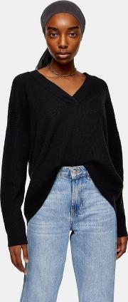 Knitted Black V Neck Jumper With Wool