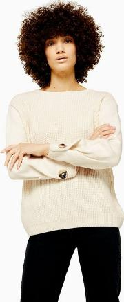 Knitted Button Sleeve Jumper