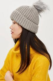 Knitted Fur Pom Hat