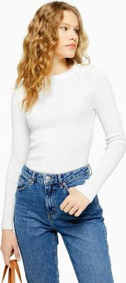 Knitted Ribbed Crew Neck Jumper