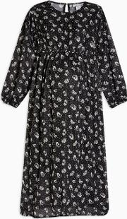 Maternity Black And White Dot Floral Smock Midi Dress