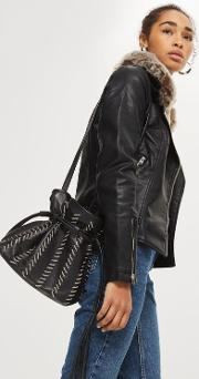 Mia Leather Chain Bucket Bag
