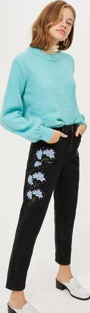 Moto Black Floral Print Embroidered Mom Jeans
