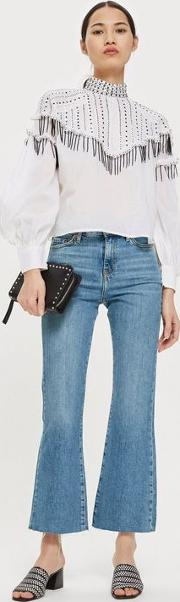 Moto Mid Blue Dree Cropped Jeans