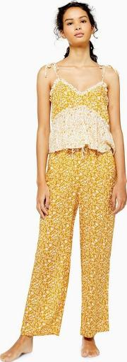 Ochre Mixed Floral Wide Leg Pyjama Trousers